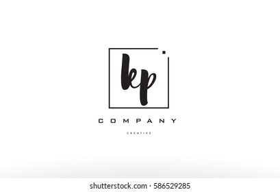 kp k p hand writing written black white alphabet company letter logo square background small lowercase design creative vector icon template