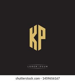 KP K P Logo Emblem Hexagon Capital Letter Modern Template