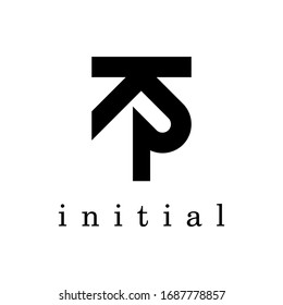KP logo.Initial letter in monogram vector design.