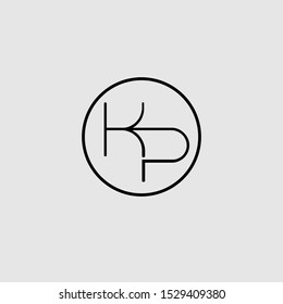 KP or PK letter icon logo vector free