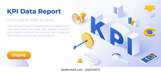 KPI Data Report, Measure Marketing Campaign, KPI Metrics Analysis, Flat Design 3d, Isometric Vector Banner With Icons And Texts