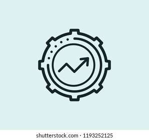 Kpi icon line isolated on clean background. Kpi icon concept drawing icon line in modern style. Vector illustration for your web mobile logo app UI design.