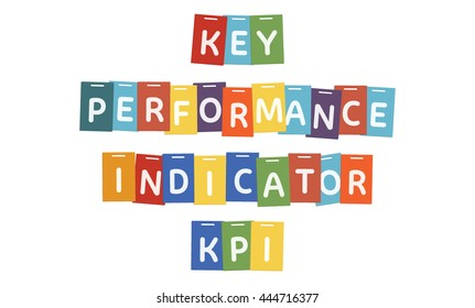 KPI Key Performance Indicator concept built with letter on flat rectangles