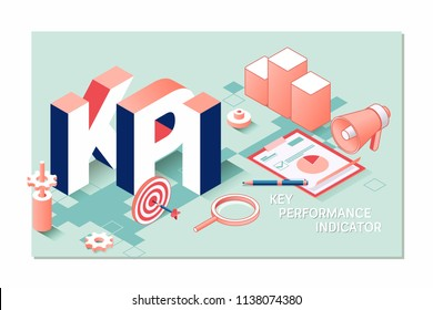 KPI, key performance indicator isometric 3D business concept. Business metrics flat vector illustration banner