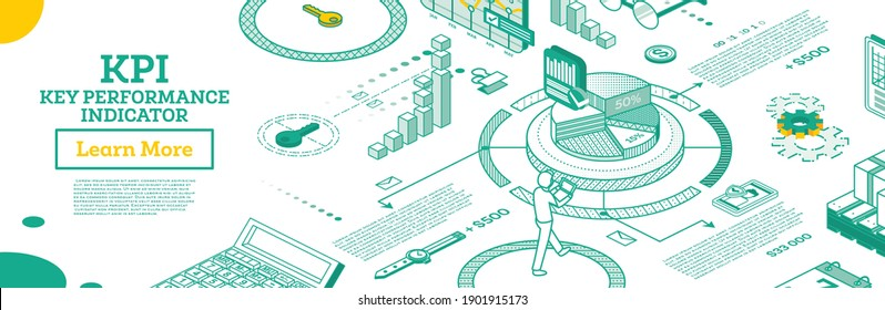 KPI Key Performance Indicator. Vector Illustration. Isometric Concept of Business Performance Strategy and Analysis. Outline Infographic Charts Isolated on White. The Efficiency of Company.