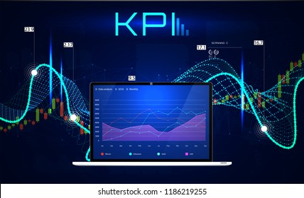 KPI (Key Performance Indicators), Business analytics concept, metrics to measure achievement versus planned target. Vector illustration,  KPI Banner
