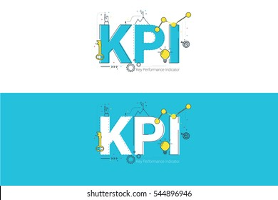 KPI lettering vector illustration design, typographic design with ornaments, lines, flat icons for heading, presentation, website banner.