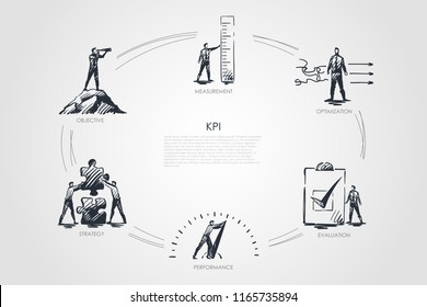 KPI - measurement, optimization, evaluation, perfomance, strategy concept. Hand drawn isolated vector.