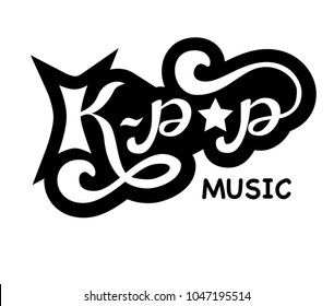 K-pop - Korean pop music style, Hand sketched black and white card K-pop. Hand drawn K-pop lettering sign. Banner, postcard, poster, stickers, tag. K-pop Vector illustration