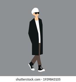 K-pop street fashion vector illustration. Korean man's street idols. K-pop male idols fashion.