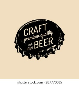 Kraft beer bottle cap logo. Old brewery icon. Lager retro sign. Hand sketched ale illustration. Vector vintage label or badge.