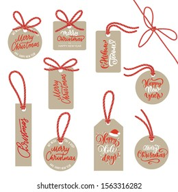 Kraft labels with a red rope - packing of New Year's gifts.