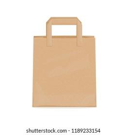 Kraft paper bag for groceries. Vector illustration.