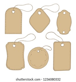 kraft paper color tags, vector image