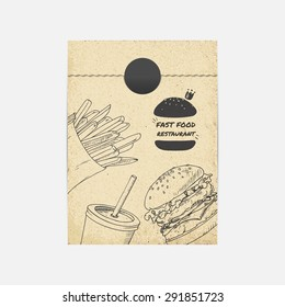 Kraft paper takeaway bag mockup in vector. Sketched illustration with fast food. Restaurant branding template