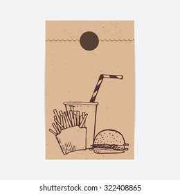 Kraft paper takeaway bag in vector. Fast food sketched illustration. Template for bag.