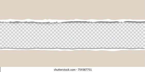 Kraft torn paper with ripped edges on transparent background with frame for text vector realistic illustration