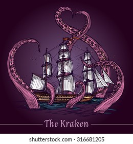 Kraken decorative emblem with sail ship in giant monster tentacles colored sketch vector illustration