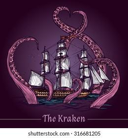 Kraken decorative emblem with sail ship in giant monster tentacles colored sketch vector illustration