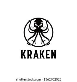 Kraken logo. Octopus & Head Skull logo template