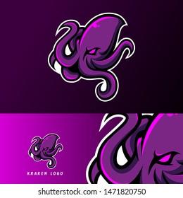 kraken octopus squid mascot sport esport logo template for team, personal, club