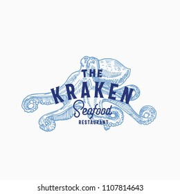 The Kraken Seafood and Fish Restaurant Abstract Vector Sign, Symbol or Logo Template. Hand Drawn Octopus with Classy Retro Typography. Vintage Vector Emblem. Isolated.