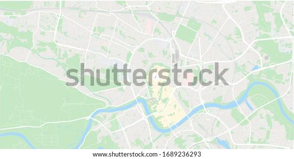Krakow mapa Cracow Poland vector map Old town plan