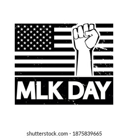 Krasnodar, Russia, December, 16, 2020: MLK Day or Martin Luther King Day concept on white. American flag with fist protest symbol. Black white poster, card, banner, background vector design.
