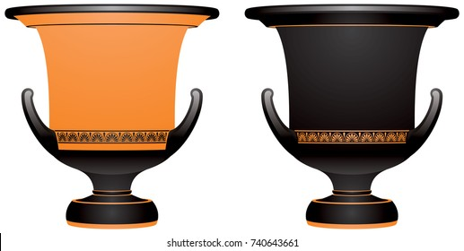 Krater, Ancient Greek vase for watering down wine, ancient Greece ceramic pottery vector illustration, variants for the black figure and red figure vase painting style