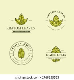 kratom logo,  leaves logo, Mitragyna speciosa logo