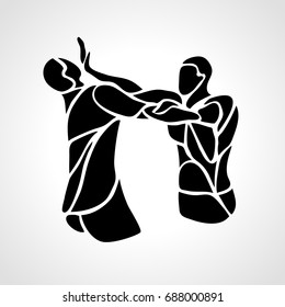 Krav maga silhouettes. Two abstract fighters pictogram