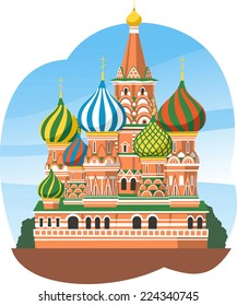 Kremlin Saint Basil's Cathedral Moscow Russia, vector illustration cartoon.