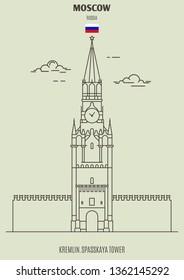 Kremlin, Spasskaya Tower in Moscow, Russia. Landmark icon in linear style