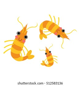 Krill animal cartoon character isolated on white background.