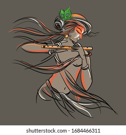 Krishna art work in vector for methodology indian culture
