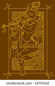Krishna Folk tribal design motif, main character of India epic mahabharata