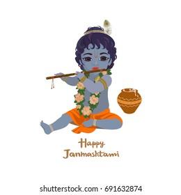Krishna janmashtami greeting card. Dahi handi festival vector illustration with little Krishna playing the flute isolated vector illustration