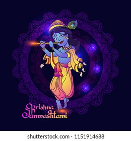 Krishna Janmashtami greeting card. Vector image of young Lord Krishna. Colorful illustration on dark blue background with mandala and handwritten lettering.