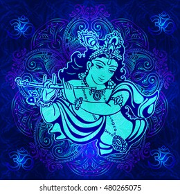 Krishna playing the flute on a psychedelic background. Vector poster for a party, printing on T-shirts, greeting cards or invitations