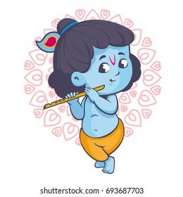 Krishna is playing the flute vector cartoon