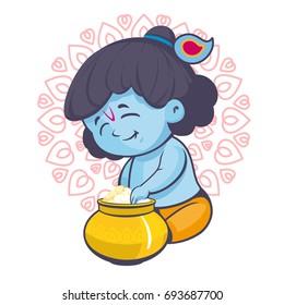 Krishna sitting with a pot vector cartoon