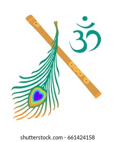 Krishna symbol - yellow flute,peacock feather and symbol OM on white background