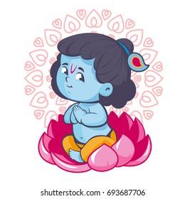 Krisna sitting in lotus vector cartoon