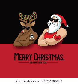 Krngle muscle man mascot with his muscular reindeer sporting naughty and nice tattoos. Eps10 vector illustration.