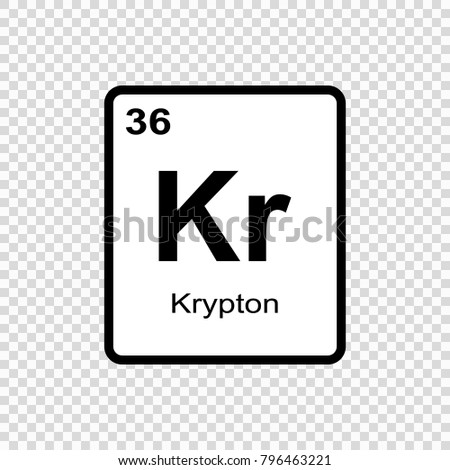 Krypton Chemical Element Sign Atomic Number Stock Vector Royalty