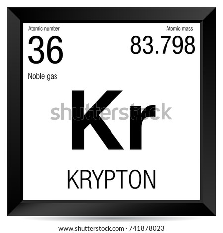Krypton Symbol Element Number 36 Periodic Stock Vector Royalty Free