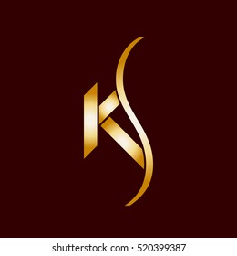 KS company logo vector template. Vector logo design with the KS initial letters in gold color.