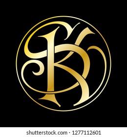 KS, IKS or KSL company logo vector template. Vector logo design with the KS, IKS or KSL initial letters gold on black background.