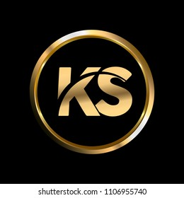KS initial circle company logo gold black background