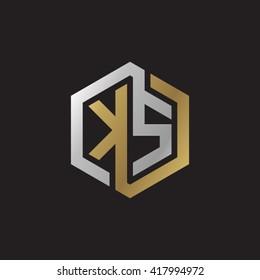 KS initial letters looping linked hexagon elegant logo golden silver black background